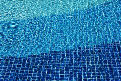 Swimming pool mosaic bottom caustics ripple like sea water. Texture of water surface. Top view. water waves with royalty free stock photo