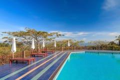 Swimming pool, mountain view Royalty Free Stock Photos