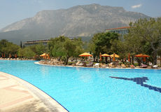 Swimming pool and mountains Royalty Free Stock Photography
