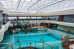 Swimming pool on the MSC Fantasia Stock Photo