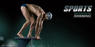 Swimming pool. Muscular swimmer ready to jump. royalty free stock photography