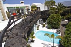 Swimming pool in natural volcanic rock area Stock Images