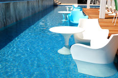 Swimming pool near bar at the modern luxury hotel Royalty Free Stock Image