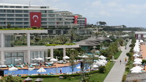 The swimming pool near beach at the luxury hotel. Antalya, Turkey stock video