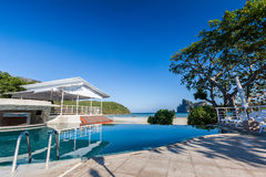 Swimming pool near beach. With mountain view Royalty Free Stock Photography