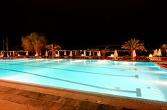 Swimming pool near beach in night illumination Stock Photo