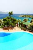 Swimming pool near beach at Turkish resort Stock Photo