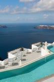 Swimming Pool near Caldera of Santorini Greece Stock Images
