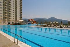 Swimming pool near hotel Stock Photo