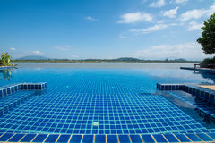 Swimming pool near Khong river with blue sky Stock Photo