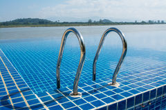 Swimming pool near Khong river with blue sky Stock Photos