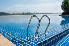 Swimming pool near Khong river with blue sky Stock Images