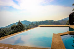 Swimming pool near the sea on mountains Koh Samui Stock Photo