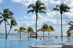 A swimming pool near the sea with palms. Stock Photos
