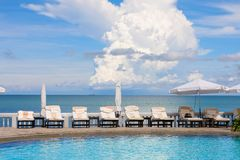 Swimming pool near the sea , Thailand. Stock Photography