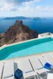 Swimming Pool near Skaros Rock on Santorini Greece Stock Image
