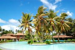Swimming pool near villas at the popular hotel. Bentota, Sri Lanka Stock Photo
