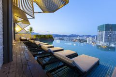 Vietnam hotel swimming pool night stock image