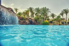 Swimming pool. Nice view of the swimming pool with waterfall Royalty Free Stock Photo