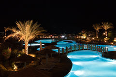Swimming pool at night Royalty Free Stock Image