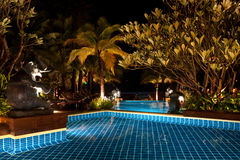 Swimming pool at night. Long exposure shot of a swimming pool at night on a beautiful resort Royalty Free Stock Photo