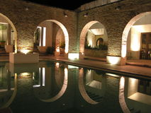 Swimming pool at night Royalty Free Stock Images
