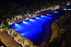 The swimming pool at night. royalty free stock images