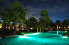 Swimming pool in night illumination Royalty Free Stock Photography