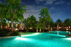 Swimming pool in night illumination Stock Photo