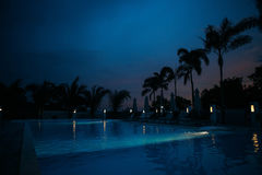 Swimming pool in night illumination tropical island. Phu quoc Royalty Free Stock Photography