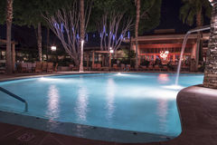 Swimming Pool at Night Stock Photo
