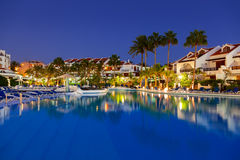 Swimming pool at night Stock Image