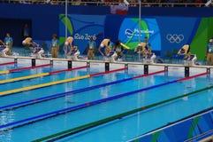 Swimming pool at Olympic Aquatics Stadium stock photography