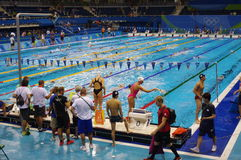 Swimming pool at Olympic Aquatics Stadium. Designed as a temporary structure and be dismantled after the games. Picture taken Aug 7, 2016 stock photo