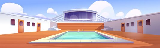 Free Swimming Pool On Cruise Liner, Empty Ship Deck Stock Image - 210815011