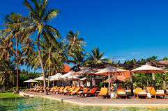 Swimming Pool at one Tropical Resort in Hua Hin. Prachuap Khiri Khan Province, Thailand royalty free stock images