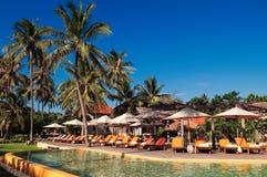 Swimming Pool at one Tropical Resort in Hua Hin. Prachuap Khiri Khan Province, Thailand royalty free stock image