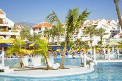 Swimming pool, open-air beach of luxury hotel, Playa de Las Amer Royalty Free Stock Photography