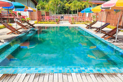 Swimming pool. Outdoor holiday resort, Rest and relax Royalty Free Stock Image