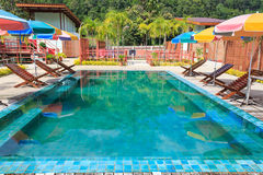 Swimming pool. Outdoor holiday resort, Rest and relax Stock Photos