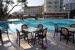 Swimming pool and outdoor restaurant at the hotel Stock Image