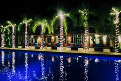 Swimming pool and palmtrees. Hotel in thailand Stock Images