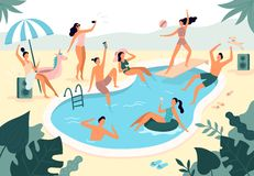 Swimming pool party. Summer outdoors people in swimwear swim together and rubber ring floating in pool water vector stock illustration