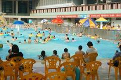 Swimming pool, people in swimming Stock Photos