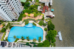 Swimming pool and Pier top view. Stock Images