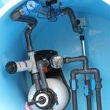 Swimming pool plumbing Stock Photo