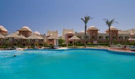 Swimming pool in popular resort. 5 star hotel's swiming pool in Hurgada, Egypt Royalty Free Stock Photo