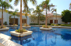 Swimming pool at reception of luxury hotel Stock Photography