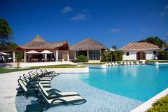 Swimming pool in residence in Dominican Republic Royalty Free Stock Images