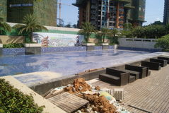 Swimming pool in the residential area Royalty Free Stock Photo